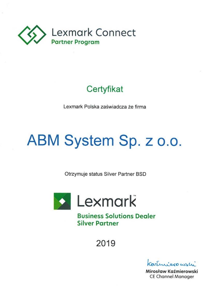 certyfikat serwis sprzedaż urzdzeń wielofunkcyjnych lexmark